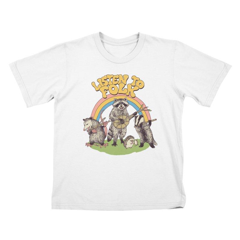 Listen To Folk Kids T-Shirt by Hillary White