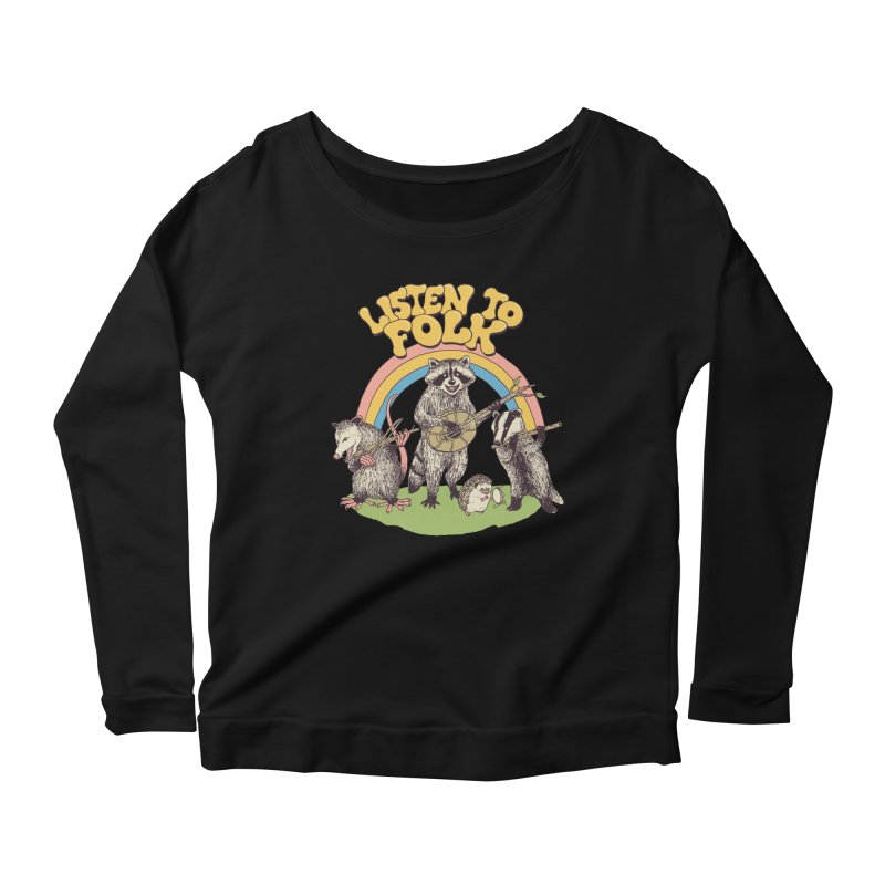 Listen To Folk Women's Scoop Neck Longsleeve T-Shirt by Hillary White