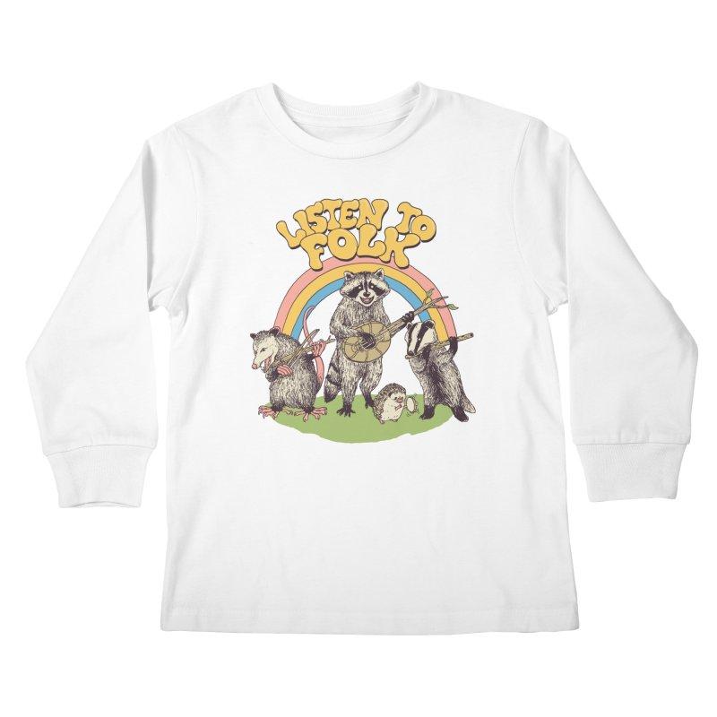 Listen To Folk Kids Longsleeve T-Shirt by Hillary White