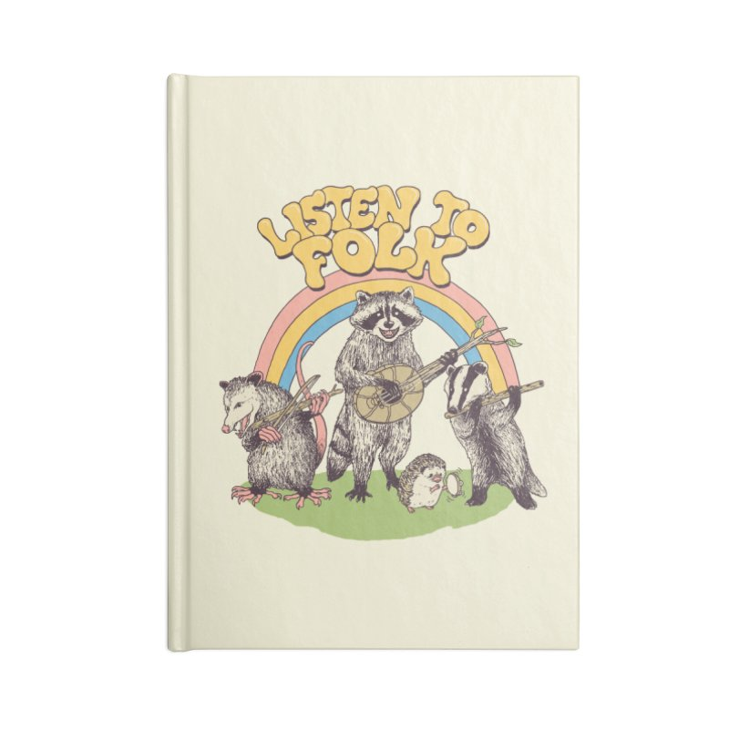 Listen To Folk Accessories Lined Journal Notebook by Hillary White