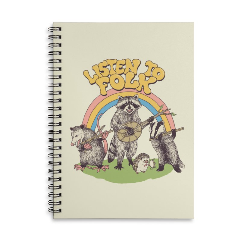 Listen To Folk Accessories Lined Spiral Notebook by Hillary White