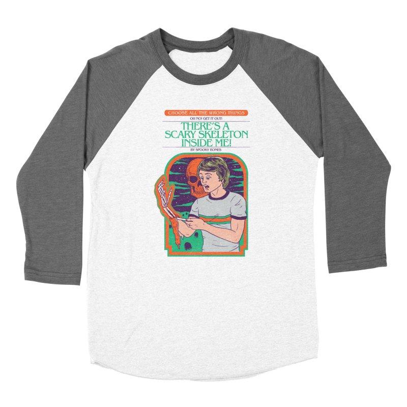 Scary Skeleton Women's Baseball Triblend Longsleeve T-Shirt by Hillary White