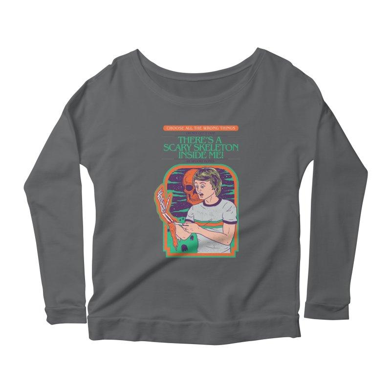Scary Skeleton Women's Scoop Neck Longsleeve T-Shirt by Hillary White