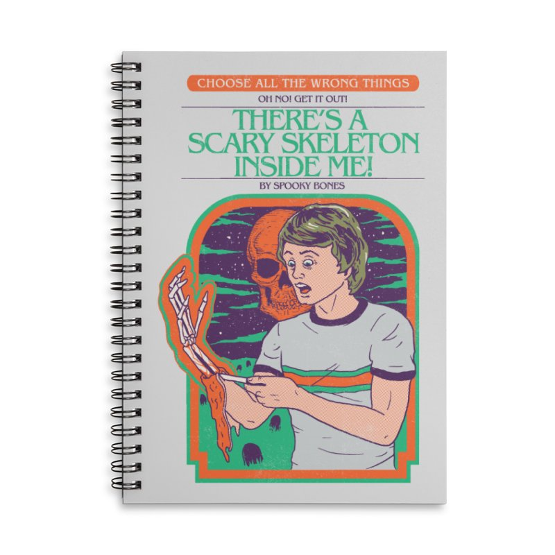 Scary Skeleton Accessories Lined Spiral Notebook by Hillary White