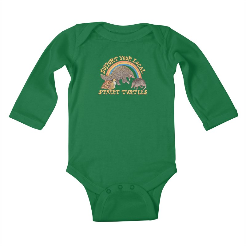 Street Turtles Kids Baby Longsleeve Bodysuit by Hillary White