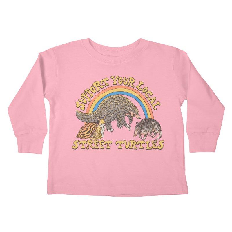 Street Turtles Kids Toddler Longsleeve T-Shirt by Hillary White