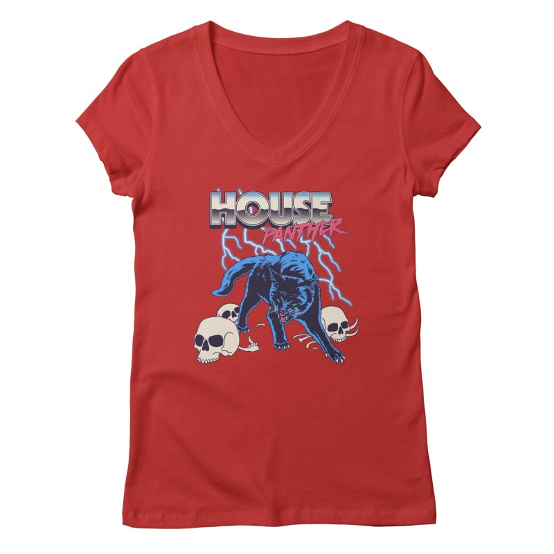 House Panther Women's Regular V-Neck by Hillary White