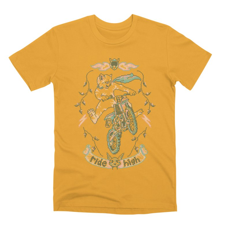 Motocross-Stitch Kitteh Men's Premium T-Shirt by Hillary White