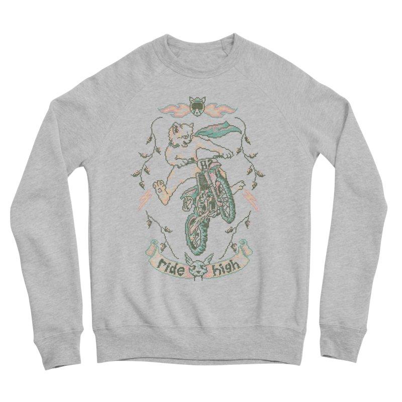 Motocross-Stitch Kitteh Men's Sponge Fleece Sweatshirt by Hillary White
