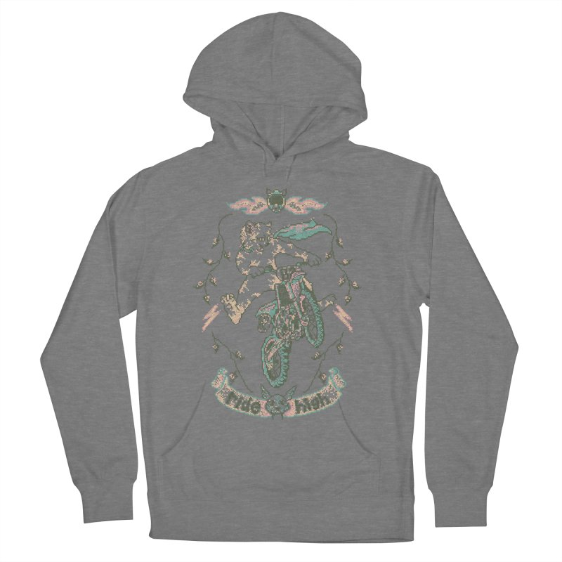 Motocross-Stitch Kitteh Men's French Terry Pullover Hoody by Hillary White