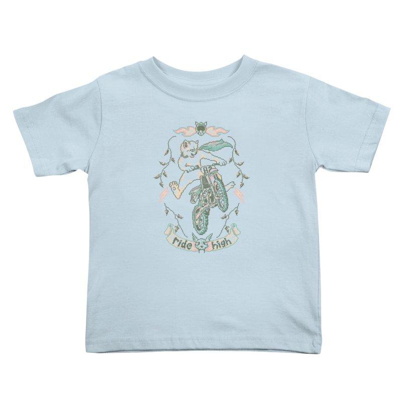 Motocross-Stitch Kitteh Kids Toddler T-Shirt by Hillary White