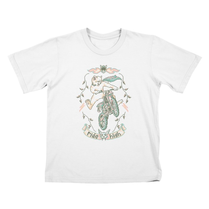 Motocross-Stitch Kitteh Kids T-Shirt by Hillary White