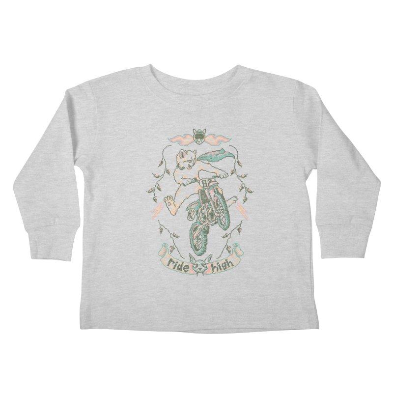 Motocross-Stitch Kitteh Kids Toddler Longsleeve T-Shirt by Hillary White