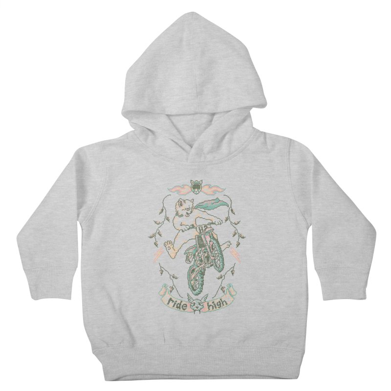 Motocross-Stitch Kitteh Kids Toddler Pullover Hoody by Hillary White