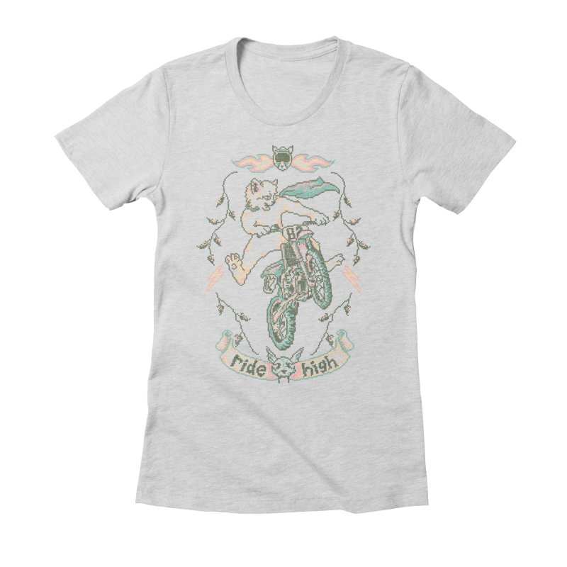 Motocross-Stitch Kitteh Women's Fitted T-Shirt by Hillary White