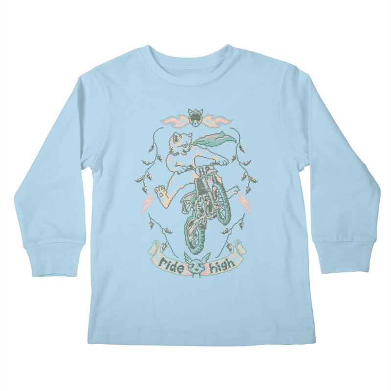Motocross-Stitch Kitteh Kids Longsleeve T-Shirt by Hillary White