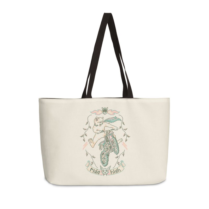 Motocross-Stitch Kitteh Accessories Weekender Bag Bag by Hillary White