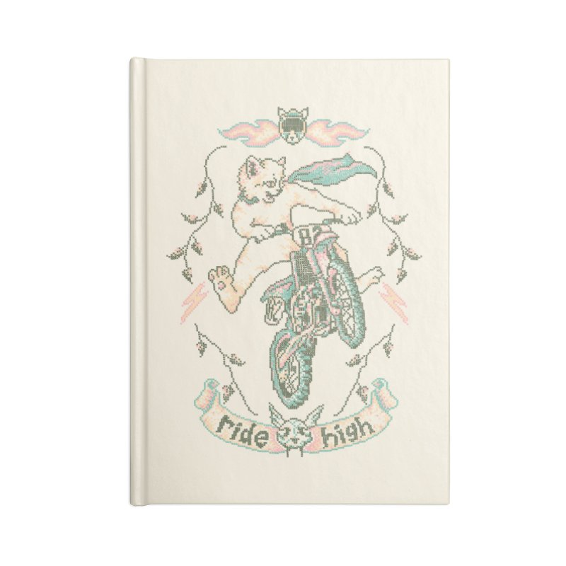 Motocross-Stitch Kitteh Accessories Blank Journal Notebook by Hillary White