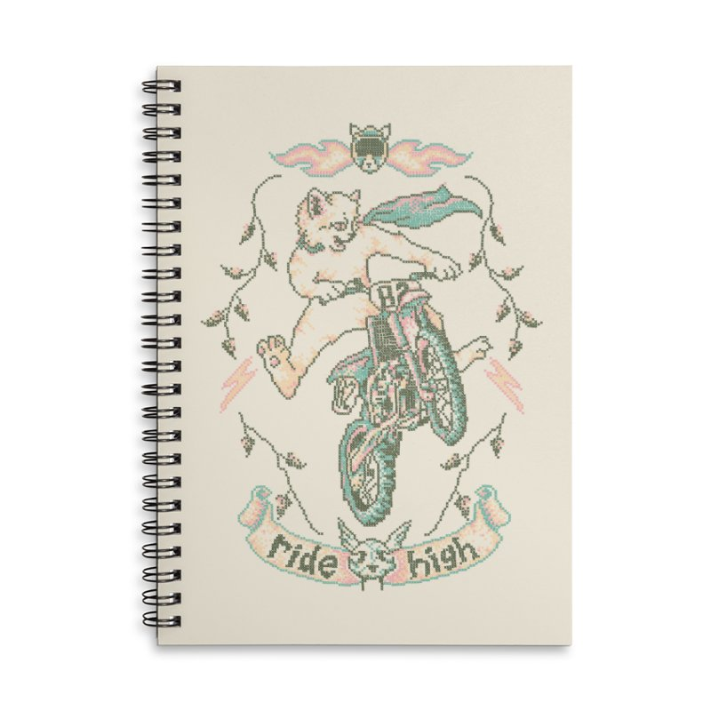 Motocross-Stitch Kitteh Accessories Lined Spiral Notebook by Hillary White