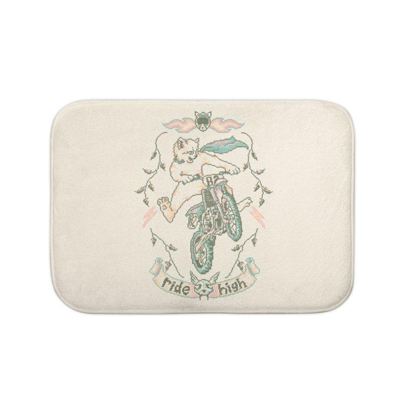 Motocross-Stitch Kitteh Home Bath Mat by Hillary White