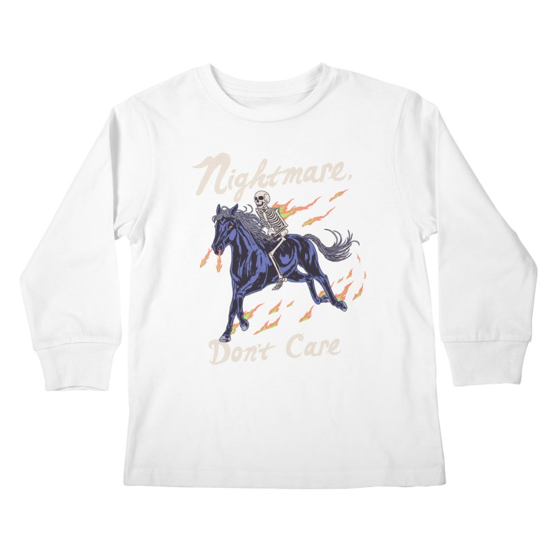 Nightmare, Don't Care Kids Longsleeve T-Shirt by Hillary White