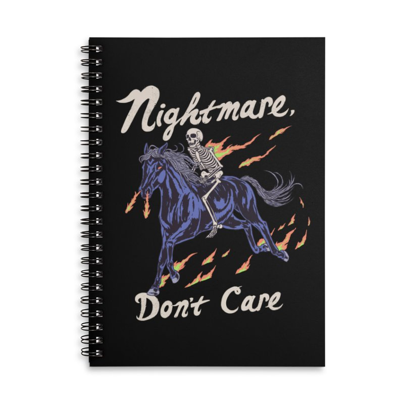 Nightmare, Don't Care Accessories Lined Spiral Notebook by Hillary White