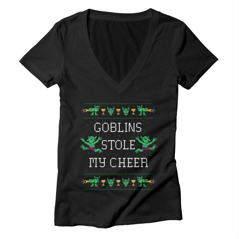 Goblins Stole My Cheer Women's V-Neck by Hillary White Rabbit