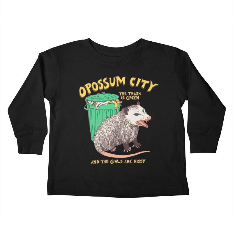Opossum City Kids Toddler Longsleeve T-Shirt by Hillary White Rabbit