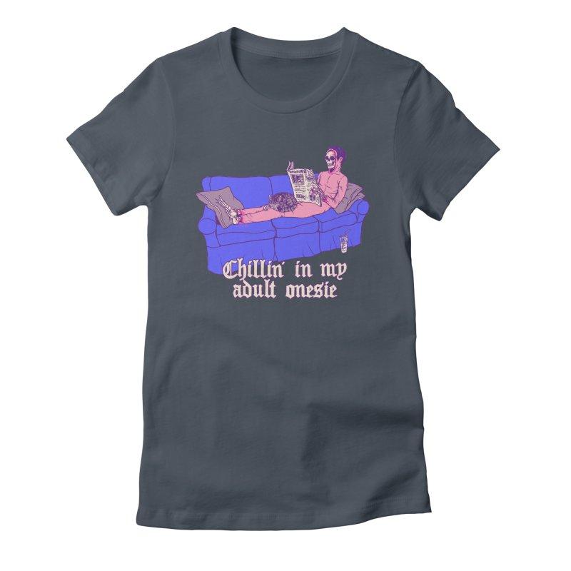 Chillin' In My Adult Onesie Women's T-Shirt by Hillary White Rabbit