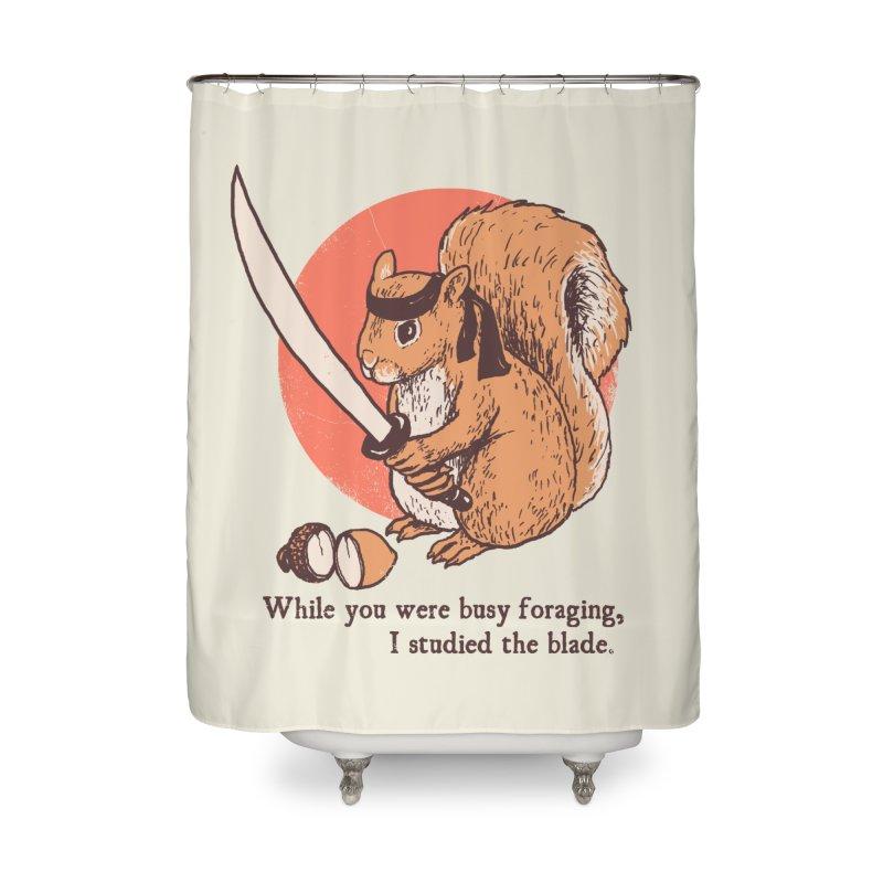 Squirrel Blade Home Shower Curtain by Hillary White Rabbit