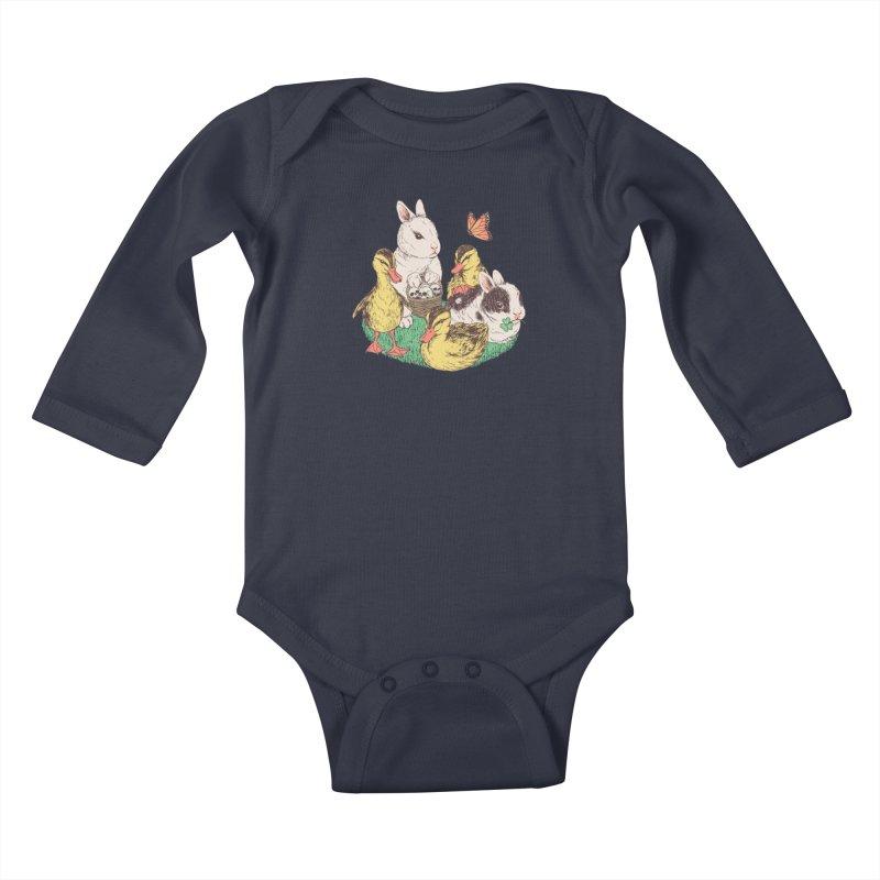Bunnies and Duckies Kids Baby Longsleeve Bodysuit by Hillary White Rabbit