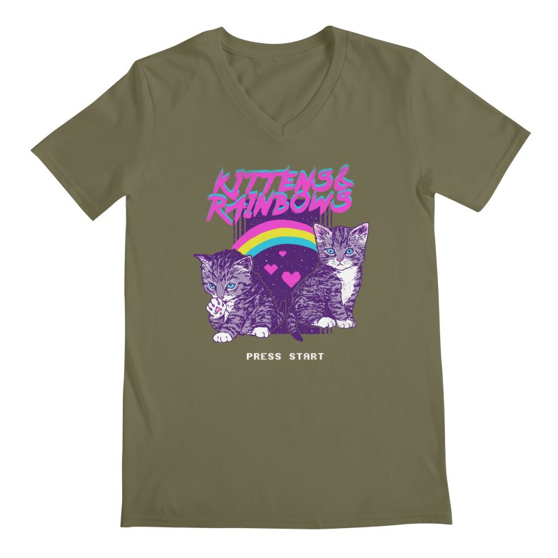 Kittens & Rainbows Men's V-Neck by hillarywhiterabbit's Artist Shop