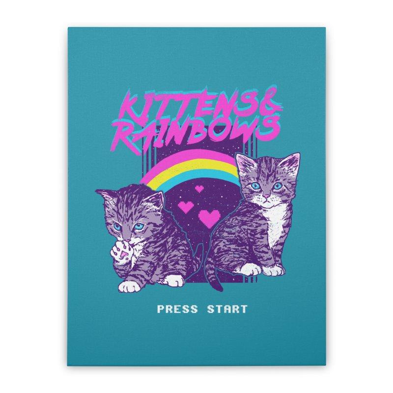 Kittens & Rainbows Home Stretched Canvas by hillarywhiterabbit's Artist Shop