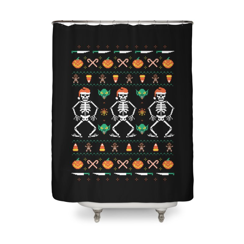 Trick Or Christmas Home Shower Curtain by hillarywhiterabbit's Artist Shop
