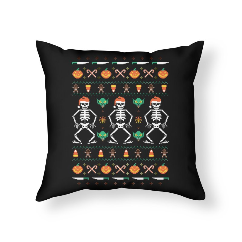 Trick Or Christmas Home Throw Pillow by hillarywhiterabbit's Artist Shop
