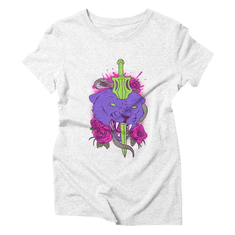 Savage Cat Women's Triblend T-shirt by hillarywhiterabbit's Artist Shop