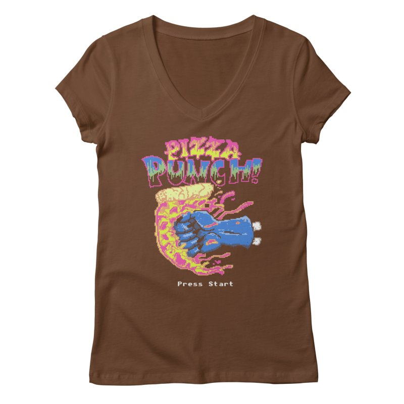 Pizza Punch Women's V-Neck by hillarywhiterabbit's Artist Shop