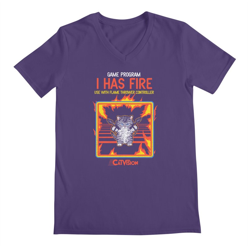 I Has Fire Men's V-Neck by hillarywhiterabbit's Artist Shop