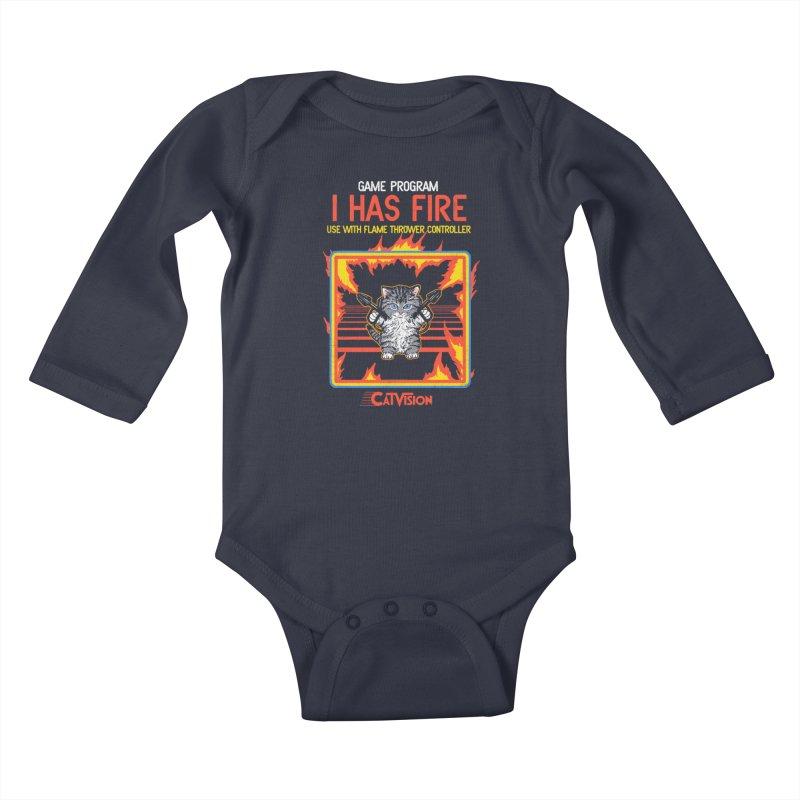 I Has Fire Kids Baby Longsleeve Bodysuit by hillarywhiterabbit's Artist Shop