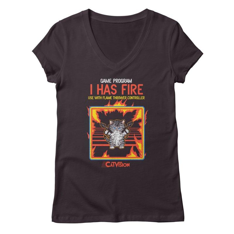 I Has Fire Women's V-Neck by hillarywhiterabbit's Artist Shop