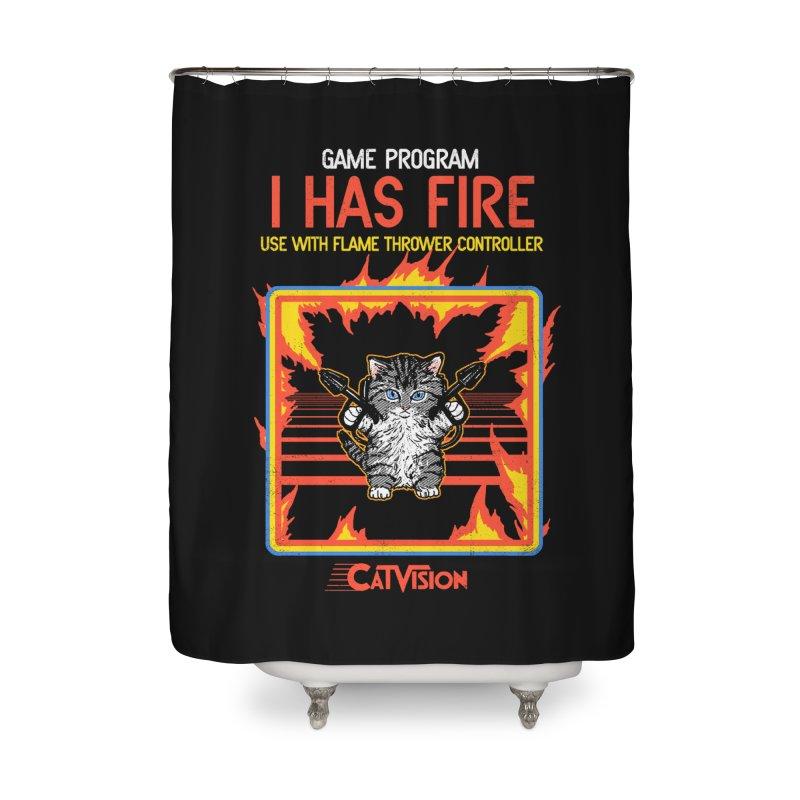 I Has Fire Home Shower Curtain by hillarywhiterabbit's Artist Shop