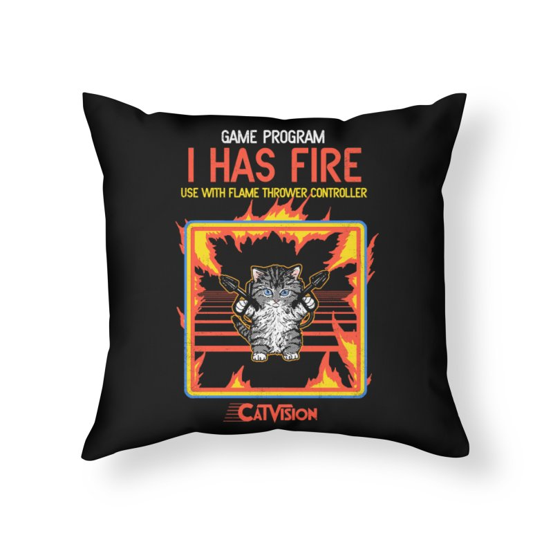 I Has Fire Home Throw Pillow by hillarywhiterabbit's Artist Shop