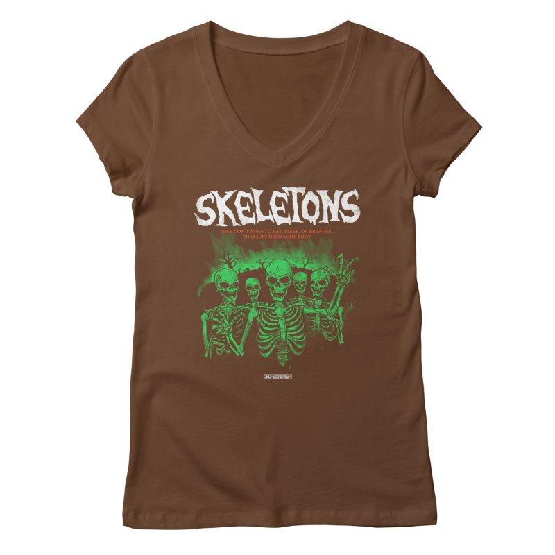 Skeletons Women's V-Neck by hillarywhiterabbit's Artist Shop