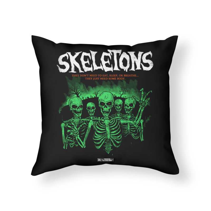 Skeletons Home Throw Pillow by hillarywhiterabbit's Artist Shop