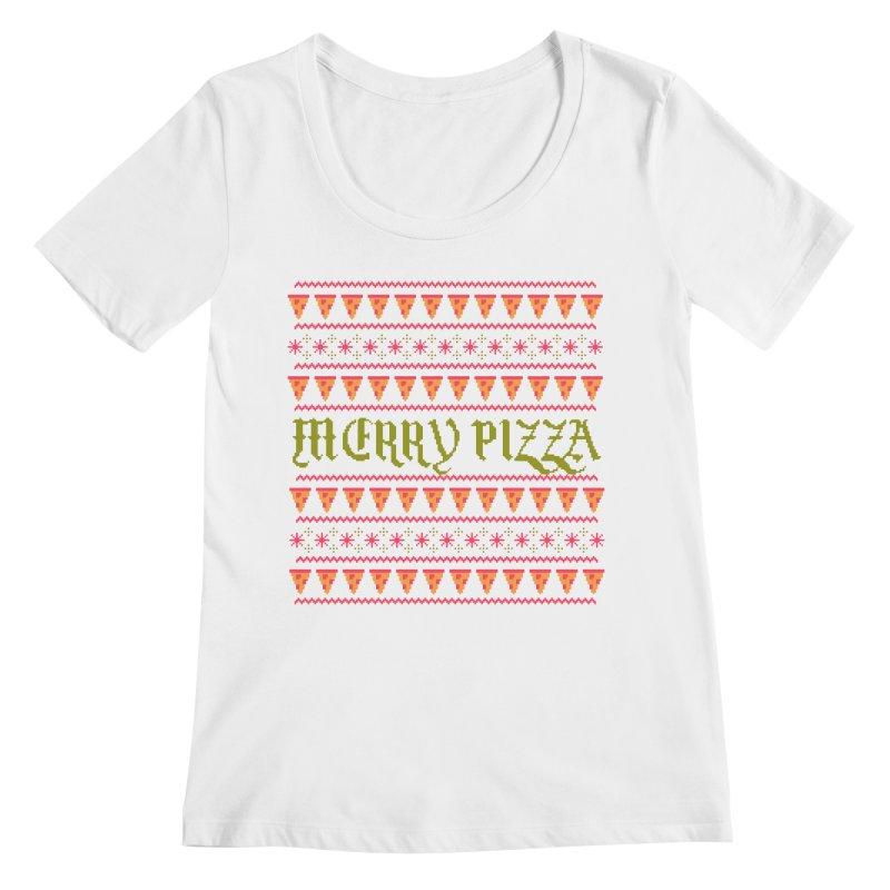Merry Pizza Women's Scoopneck by hillarywhiterabbit's Artist Shop