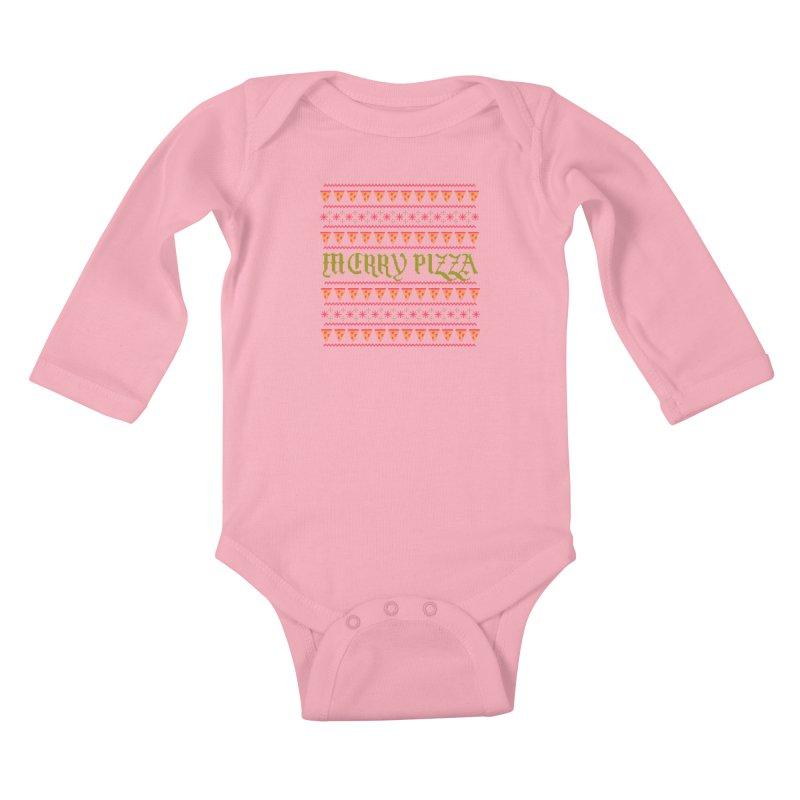 Merry Pizza Kids Baby Longsleeve Bodysuit by hillarywhiterabbit's Artist Shop