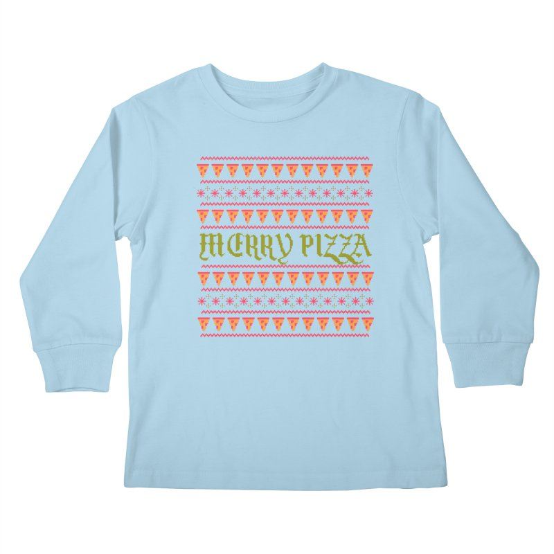 Merry Pizza Kids Longsleeve T-Shirt by hillarywhiterabbit's Artist Shop