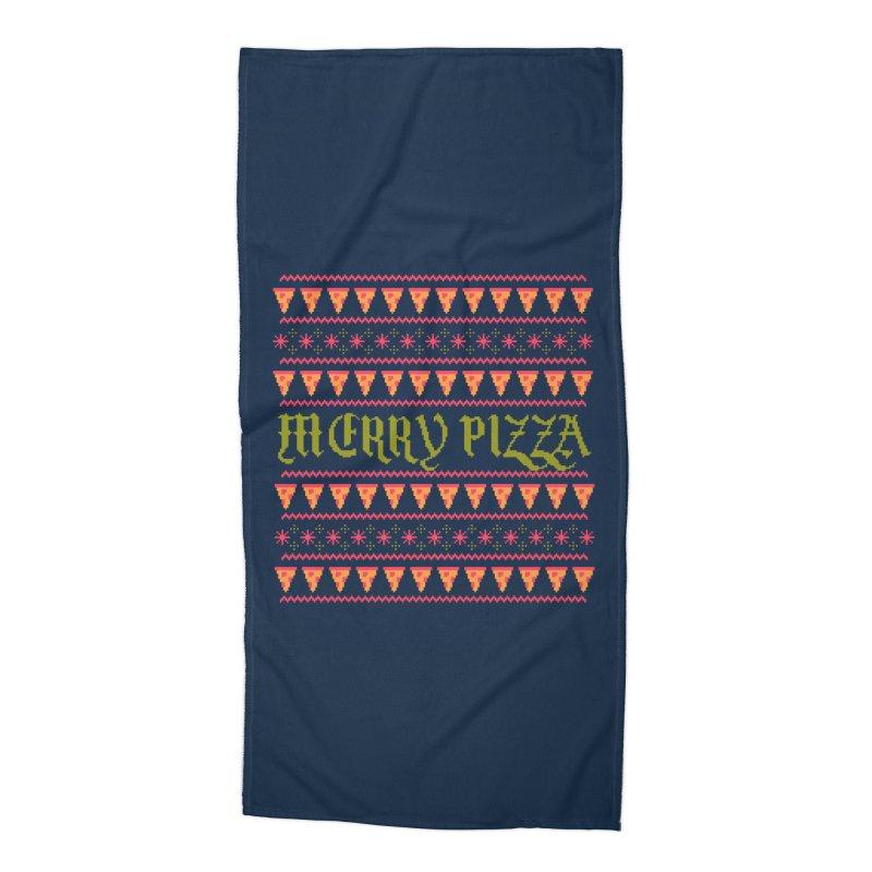 Merry Pizza Accessories Beach Towel by hillarywhiterabbit's Artist Shop