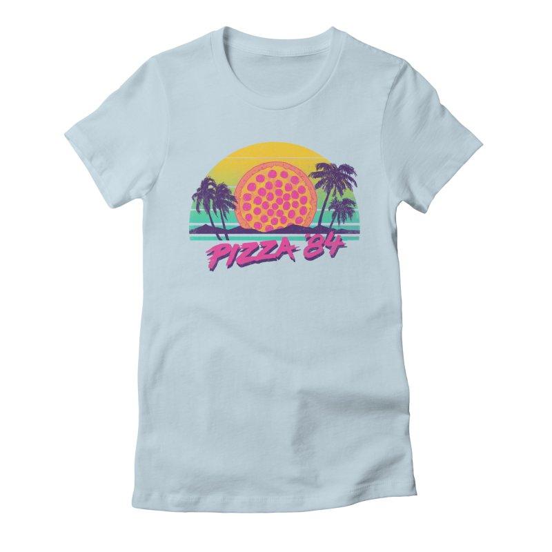 Pizza '84 Women's Fitted T-Shirt by hillarywhiterabbit's Artist Shop