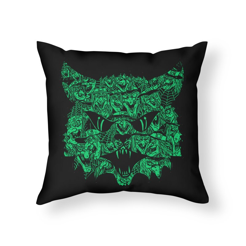 Kitty Witches Home Throw Pillow by hillarywhiterabbit's Artist Shop